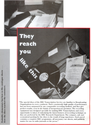BBC Transcription Service promotional (ca 1960s) as reprinted in leaflet 'Sixty Years of Radio at its Best' (1991)