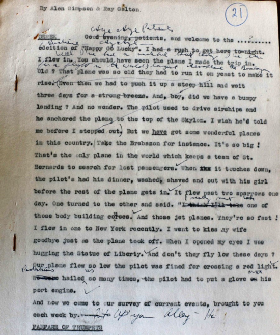 Script from the Galton and Simpson Archive used by kind permission
